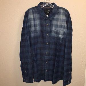 Mens Blue Crown Checkered Button Down Shirt Sz XL